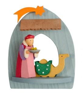 Crèche de Noël à suspendre au sapin, roi mage Balthazar
