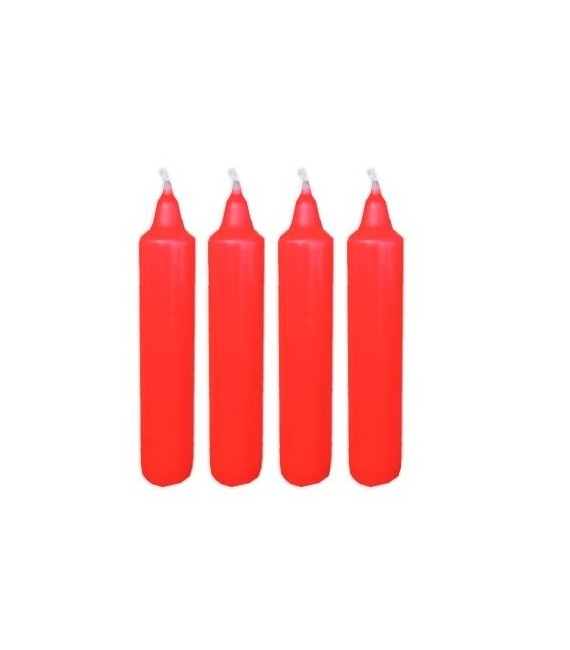 4 bougies rouges pour couronne de l'Avent 25 mm