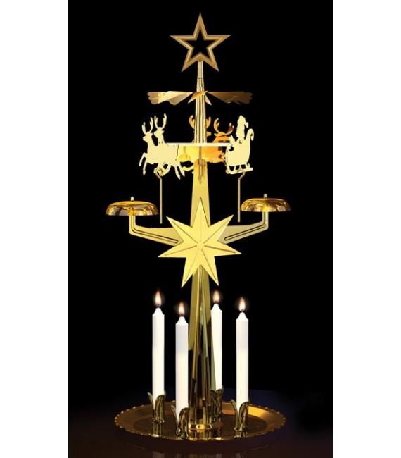 Carillon père Noël doré