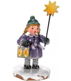 Village de Noël miniature, fillette avec étoile