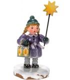 Village de Noël miniature, figurine fillette avec étoile