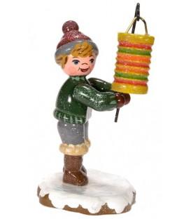 Village de Noël miniature, figurine garcon et lampion