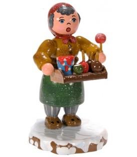 Village de Noël miniature, figurine, vendeuse de fruit