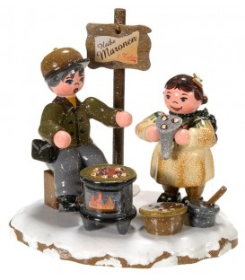 Village de Noël miniature, figurine enfant vendeur de marrons