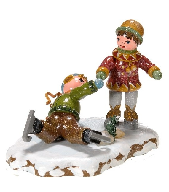 Village de Noël miniature, figurine patineur