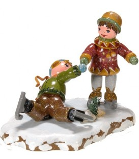 Village de Noël miniature, figurine patineur