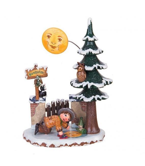 Village de Noël miniature, figurine cireur de lune