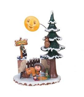 Village de Noël miniature, cireur de lune