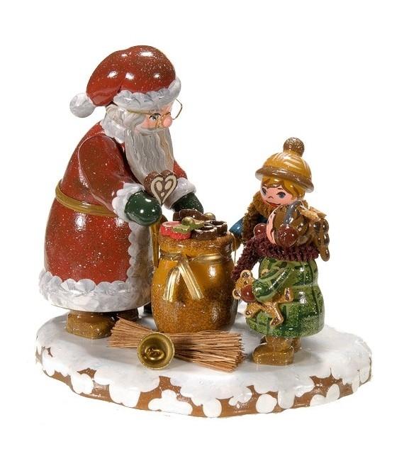 Village de Noël miniature, enfants et père Noël