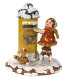Village de Noël miniature, figurine fillette et boite à lettre