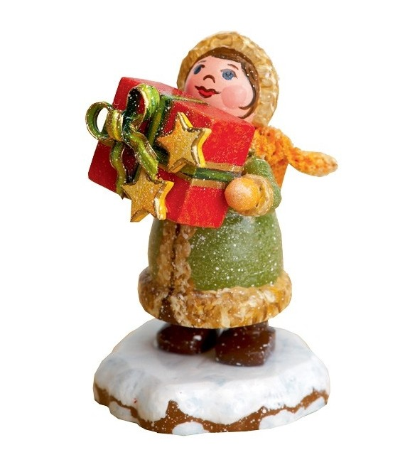 Village de Noël miniature, fillette et cadeaux
