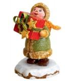 Village de Noël miniature, figurine fillette et cadeaux