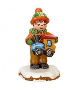 Village de Noël miniature, garçon et petit train