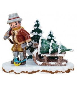 Village de Noël miniature, figurine enfant bucheron
