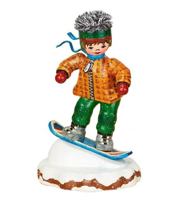 Village de Noël miniature, snowboarder