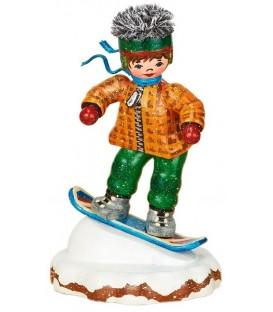 Village de Noël miniature, figurine enfant snowboarder