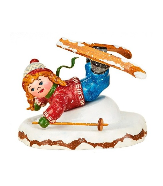 Décoration de Noël enfant, figurinefillette à ski
