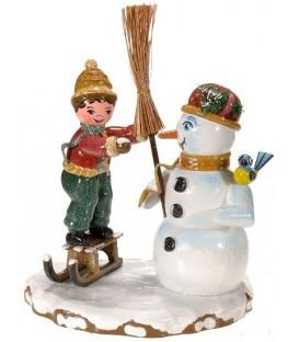 Village de Noël miniature, figurine enfant et bonhomme de neige