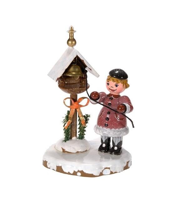 Village de Noël miniature, fillette et clochette