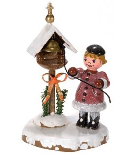 Village de Noël miniature, figurine enfant fillette et clochette