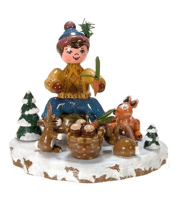 Décoration de Noël enfant, figurine, garcon et petits animaux