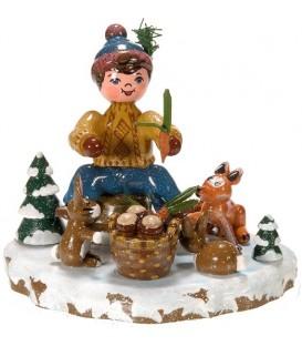 Village de Noël miniature, figurine enfant garçon et petits animaux