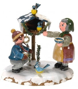 Village de Noël miniature, figurine enfant grand-mère et oiseaux