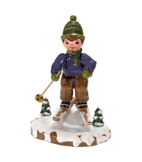 Décoration de Noël enfant, figurine, garcon à ski