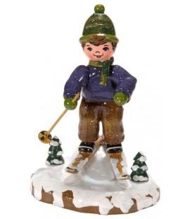 Village de Noël miniature, figurine enfant garçon à ski