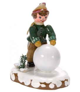 Village de Noël miniature, garçon et boule de neige