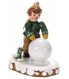 Décoration de Noël enfant, figurine, garcon et boule de neige