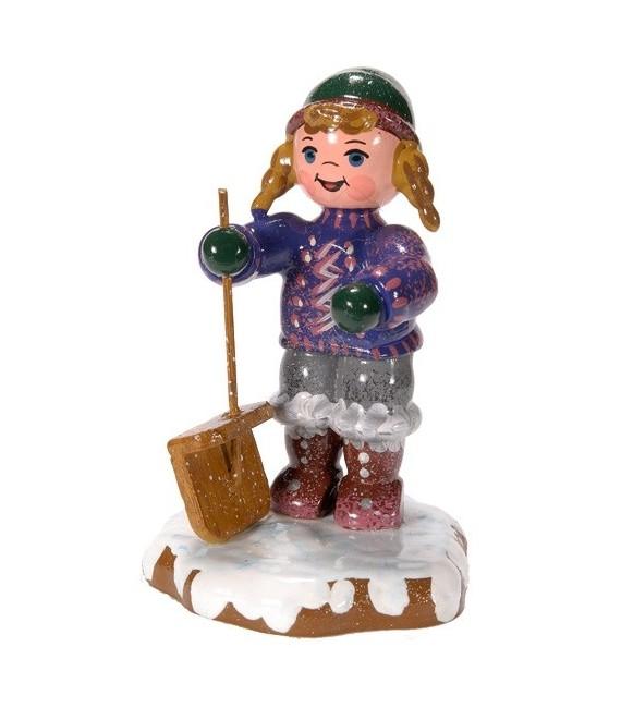 Décoration de Noël enfant, figurine, fillette et pelle à neige