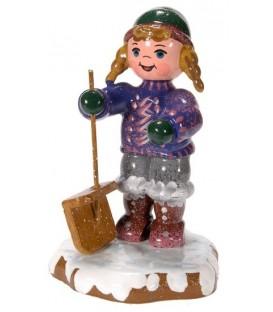 Village de Noël miniature, fillette et pelle à neige