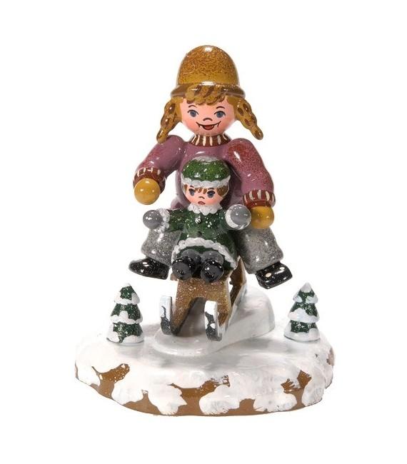 Décoration de Noël enfant, figurine, fillettes sur la luge
