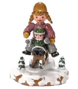 Village de Noël miniature, figurine enfant fillettes sur la luge