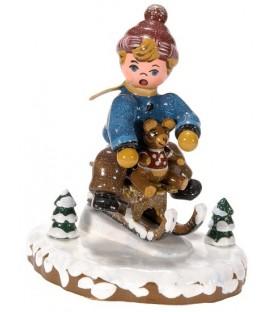 Village de Noël miniature, figurine enfant garçon sur la luge