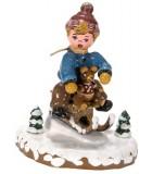 Décoration de Noël enfant, figurine, garcon et luge