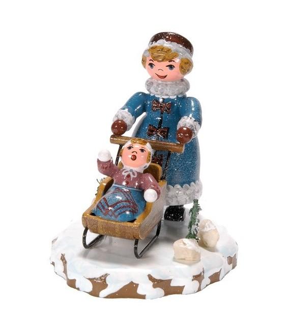 Village de Noël miniature, maman et poussette