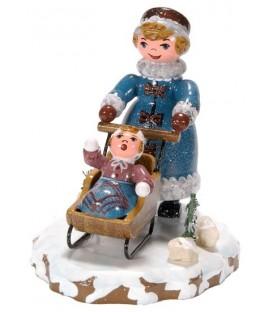 Village de Noël miniature, figurine enfant maman et poussette
