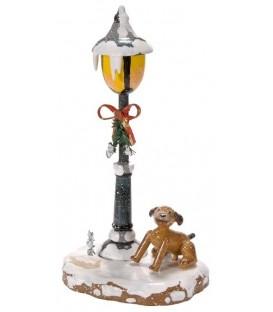 Village de Noël miniature, figurine enfant chien sous réverbère