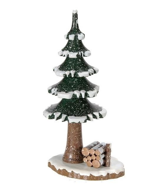 Village de Noël miniature, sapin et tas de bois