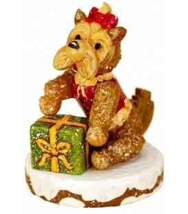 Village de Noël miniature, chien et cadeau