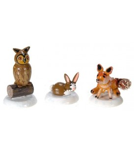 Village de Noël miniature, figurine enfant set renard chouette et lapin