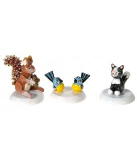 Village de Noël miniature, écureuil, chat et mésange