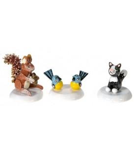Village de Noël miniature, figurine enfant set écureuil, chat et mésange