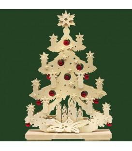 Sapin de Noël lumineux à led en bois avec boules de Noël rouges