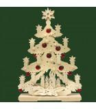 Sapin de Noël lumineux, en bois avec boules de Noël rouges