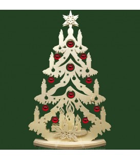 Grand sapin lumineux led, en bois avec boules de Noël rouges