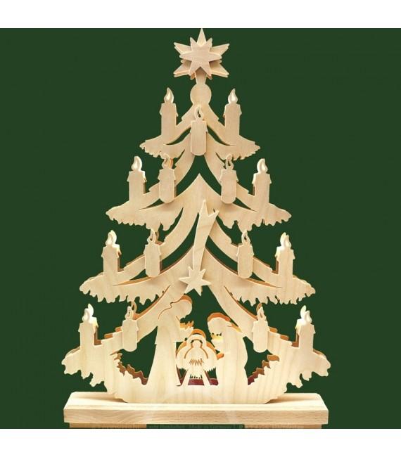 Sapin lumineux LED en bois avec crèche de Noël