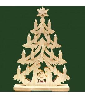 Sapin de Noel lumineux, en bois avec crèche de Noël